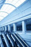 Escalator and waiting hall in station Royalty Free Stock Images
