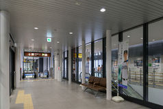 Escalator and waiting space in Shin-Hakodate-Hokuto station. Stock Image