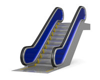 Escalator on white background. Isolated 3D Stock Image
