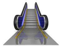 Escalator on white background. Isolated 3D Stock Photos