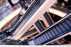 Escalators. Image taken in the new shopping galleries in downtown Frankfurt, MyZeil, showing some of the escalators running between the different stories stock photo