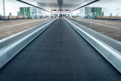Escalators in airport. escalator, interior of Indian pudong airport royalty free stock photos