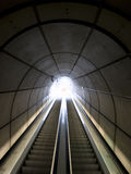 Escalators in Bilbaos metro. Motion blur on steps royalty free stock image