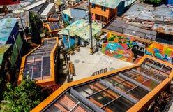 Escalators colorés de Medellin Images libres de droits