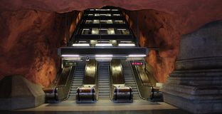Escalators dans le souterrain de Stockholm Photos stock