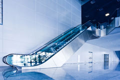 Escalators in exhibition royalty free stock images