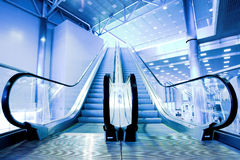 Escalators in exhibition Stock Photo