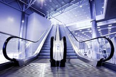 Escalators in exhibition Stock Images