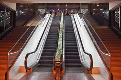 Escalators in a hotel. Automatic escalators in a luxury hotel Royalty Free Stock Photo