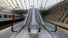 Escalators in Liege central railway station. Static view on Escalators in Liege central railway station, Belgium stock video footage