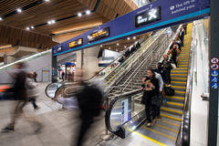 Escalators at London Bridge Station. Passengers at London Bridge Station platform Stock Image