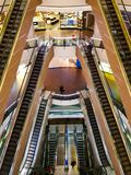 Escalators in Mall of Istanbul. Symmetry escalator in shopping center Stock Photography