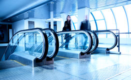 Escalators in modern business center Royalty Free Stock Image