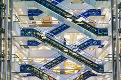 Escalators at modern mall Stock Images