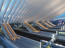 Modern Architecture Escalators in Modern Train Sta Stock Image