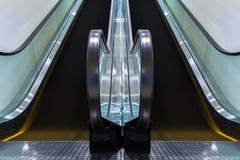 Escalators move indoor building. Royalty Free Stock Photo