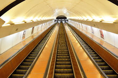 Escalators of Prague subway Stock Photo