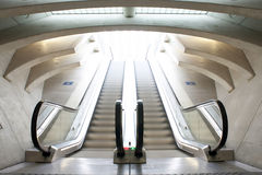 Escalators in railway station Royalty Free Stock Image
