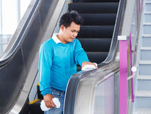 Escalators rubber handle cleaning Stock Photo