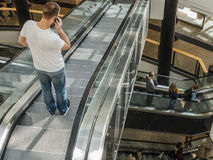 Escalators in shopping gallery Royalty Free Stock Photos