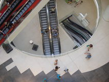 Escalators in shopping mall seen from above Stock Images