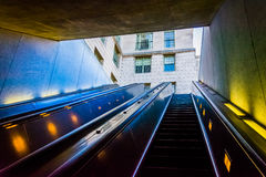 Escalators in the Smithsonian Metro Station, Washington, DC. Stock Photos