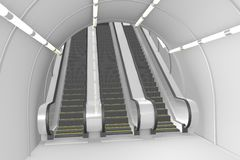Escalators stairs in underground Royalty Free Stock Photo