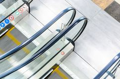 Escalators Stairway Top View. Empty Escalators Stairway Top View. Motion Blur Moving Staircase Royalty Free Stock Image