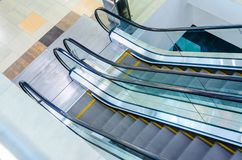 Escalators Stairway Top View. Empty Escalators Stairway Top View. Motion Blur Moving Staircase Stock Photo
