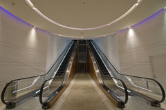 Escalators in Underground Tunnel Royalty Free Stock Photography
