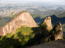 Escalavrado and Nossa Senhora mountains seen from Dedo de deus mountain summit in Brazil Stock Photo