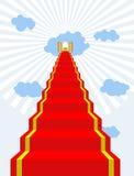 Escalera al paraíso Alfombra roja en el cielo Puertas del paraíso Haga Imagen de archivo libre de regalías