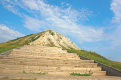 Escalera al pico de la montaña Imagen de archivo