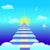 Escalera azul que lleva al sol naciente illustation del vector Fotos de archivo