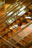 Escalera brillante en el barco de cruceros Imagenes de archivo