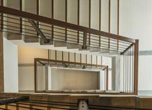 Escalera con el carril de madera Fotografía de archivo libre de regalías