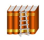 Escalera con una fila de los libros encartonados de Brown Imagen de archivo