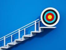 Escalera con una flecha que lleva a la blanco ilustración 3D stock de ilustración