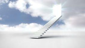 Escalera con una puerta de abertura en el cielo nublado almacen de metraje de vídeo