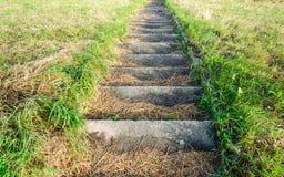 Escalera concreta en un terraplén Imagenes de archivo