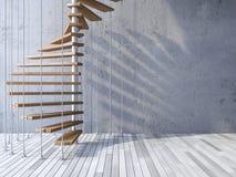 escalera 3d colgada por los cables Imagenes de archivo