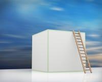 escalera 3d y cubo en fondo del cielo Fotografía de archivo libre de regalías