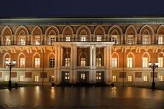 Escalera de la iluminación de la noche del museo Tsaritsyno Fotos de archivo