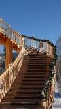 Escalera de la madera dura al cielo Imágenes de archivo libres de regalías