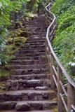 Escalera de la roca en los jardines japoneses fotos de archivo