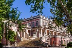 Escalera de los leones (DOS Leões de Escadaria) que lleva a los jardines del palacio de Queluz, Portugal Fotografía de archivo
