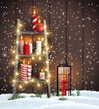 Escalera de madera con las velas, las luces y la linterna de la Navidad ilustración del vector
