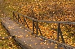 Escalera de madera del otoño en el campo Fotografía de archivo libre de regalías
