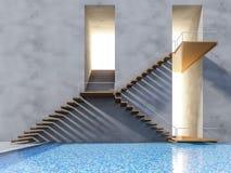 escalera de madera 3ds Fotos de archivo libres de regalías
