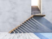 escalera de madera 3ds Imagenes de archivo
